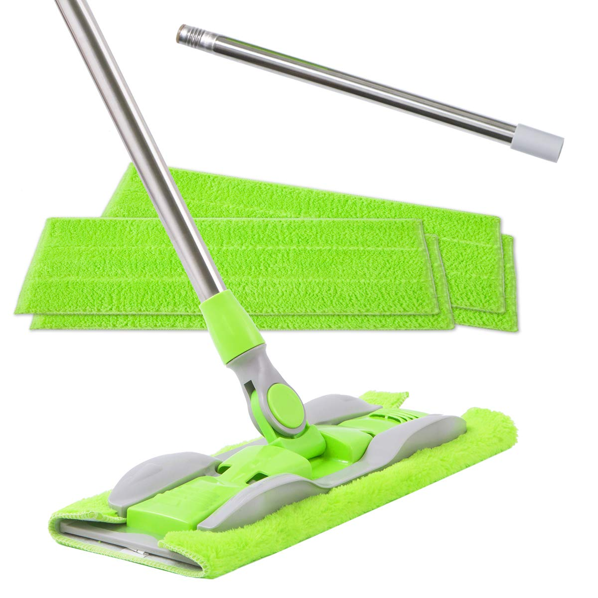 ITSOFT Microfiber Hardwood Floor Mop - 5 Reusable Flat Mop Pads and Adjustable Stainless Steel Handle, for Wet or Dry Floor Cleaning