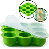 BabyBliss Eco Friendly Silicone Baby Food Freezer Storage Tray | 9 Large Cups (2.5 Oz) | Clip-On Silicone Lid | Toxin and BPA Free & FDA Approved | Oven and Dishwasher Safe