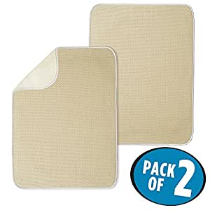 """mDesign Absorbent Kitchen Countertop Dish Drying Mat - Pack of 2, 24"""" x 18"""", Solid, Wheat/Ivory"""