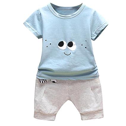 Conjuntos Recien Nacido Ropa, ❤️ Amlaiworld 2PC Conjunto Ropa Bebe Recien Nacido Verano 0-24 meses Niños Ojos de Dibujos Animados Camisetas y ...