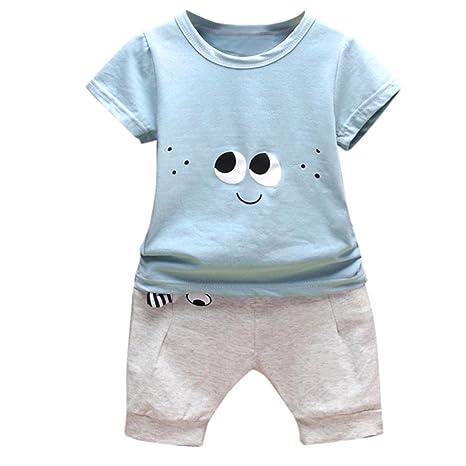 Conjuntos Recien Nacido Ropa,2PC Conjunto Ropa Bebe Recien Nacido Verano 0-24 meses Niños Ojos de Dibujos Animados Camisetas y Pantalones (Azul, ...