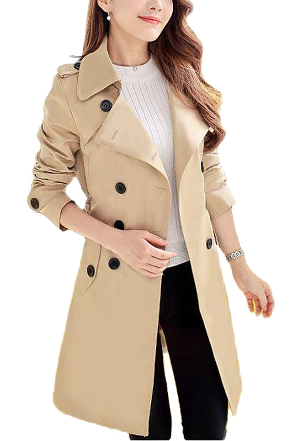 Farvalue Womens Double Breasted Belted Petite Lapel Trench Coat