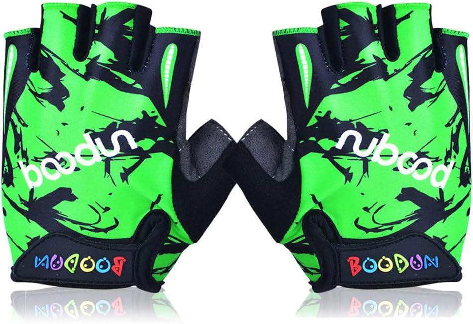 Green//M Kids Gloves Bike Padded Soft Non-Slip Half Finger Outdoor Sports Microfiber Roller-Skating Skateboard Gloves for Boys Girls