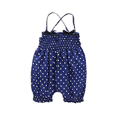 8d2fd4cc6895 Amazon.com  2019 New Summer G-Real Infant Baby Girls Sleeveless Dot Romper  Double Bow Sling Jumpsuit Outfits  Clothing