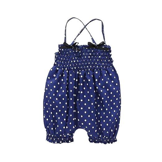 9bb10eb7ad16 Amazon.com  Toddler Kids Infant Baby Girls Straps Dots Print Romper ...