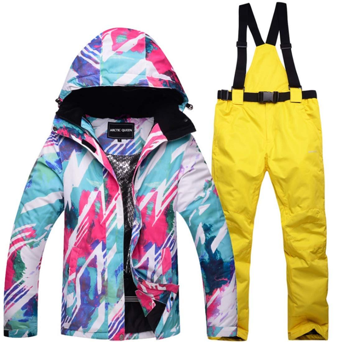 女性のスキージャケット防水 アウトドアスポーツのための雨雪アウトドアハイキング冬のレインコートよだれかけパンツに設定された女性の防寒着冬のスキージャケットとパンツ レディース冬の雪のジャケットレインコート (色 : 03, サイズ : L)  Large