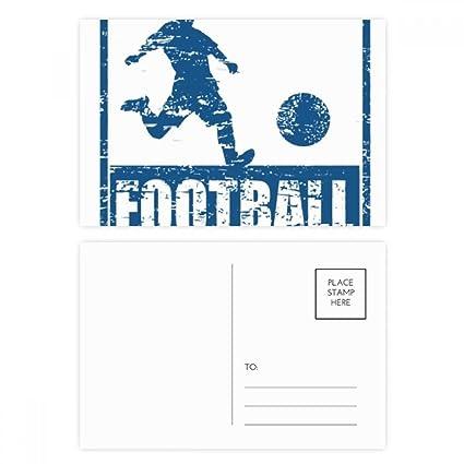DIYthinker Azul jugador de fútbol del retroceso tarjeta postal ...