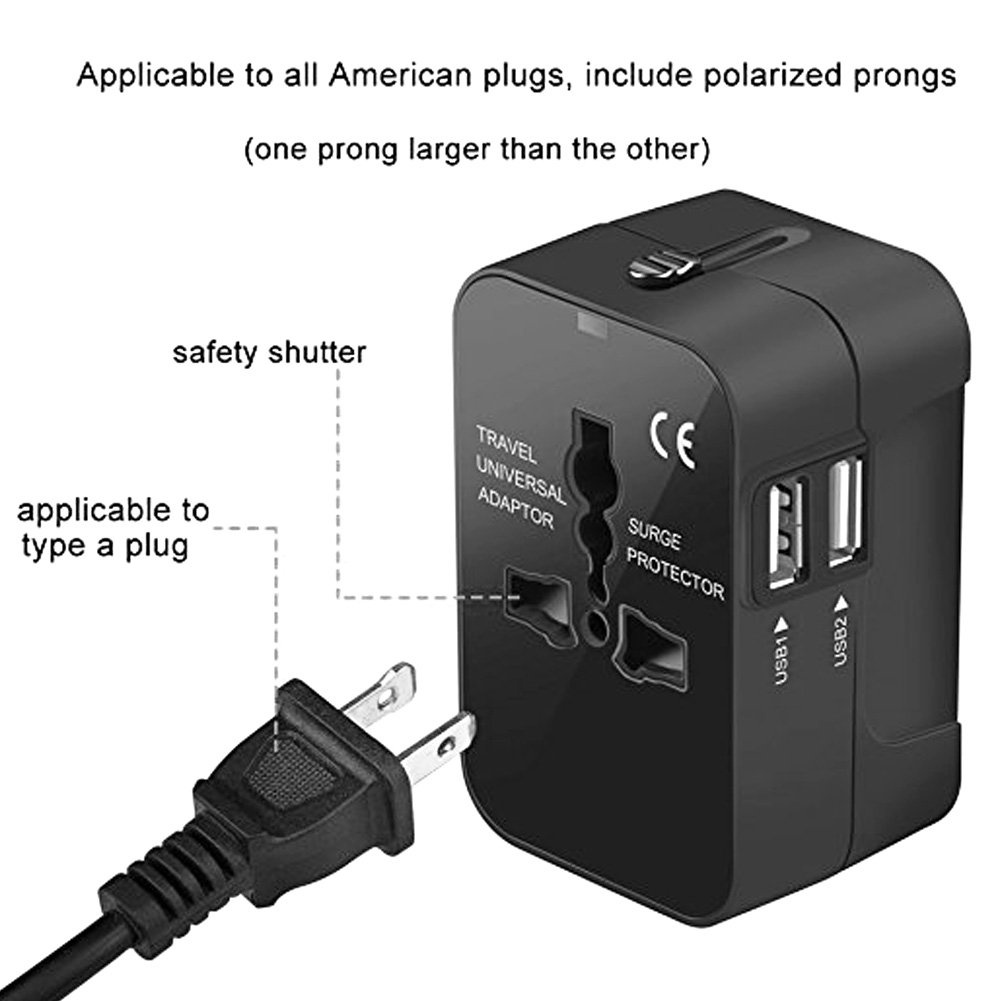 Adaptador Enchufe De Viaje Universal Enchufe Adaptador Internacional Con Dos Puertos USB Para Japón China Canadá USA EU UK AU Acerca De 180 Países (Negro): ...