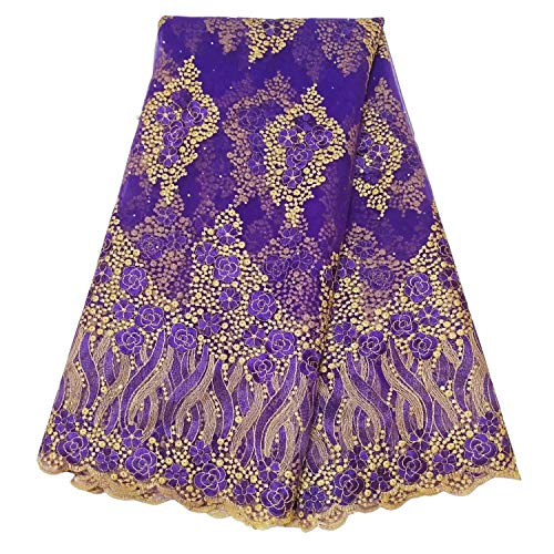 (5 Yards/Lot Latest African Nigerian French lace Fabric Embroidered Beading and Rhinestones for Wedding Party A012 (Purple))
