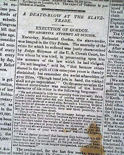 NATHANIEL GORDON EXECUTION 1st for African Slave Trader 1862 Civil War Newspaper NEW-YORK DAILY TRIBUNE, Feb. 22, 1862