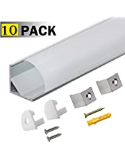 10 Pack 1M/3.3ft V-Shape LED Aluminium Channel with Milky White PC Cover for Strip Lights Installation,Compact,Professional Finish, Profilé LED Aluminium with Complete Mounting