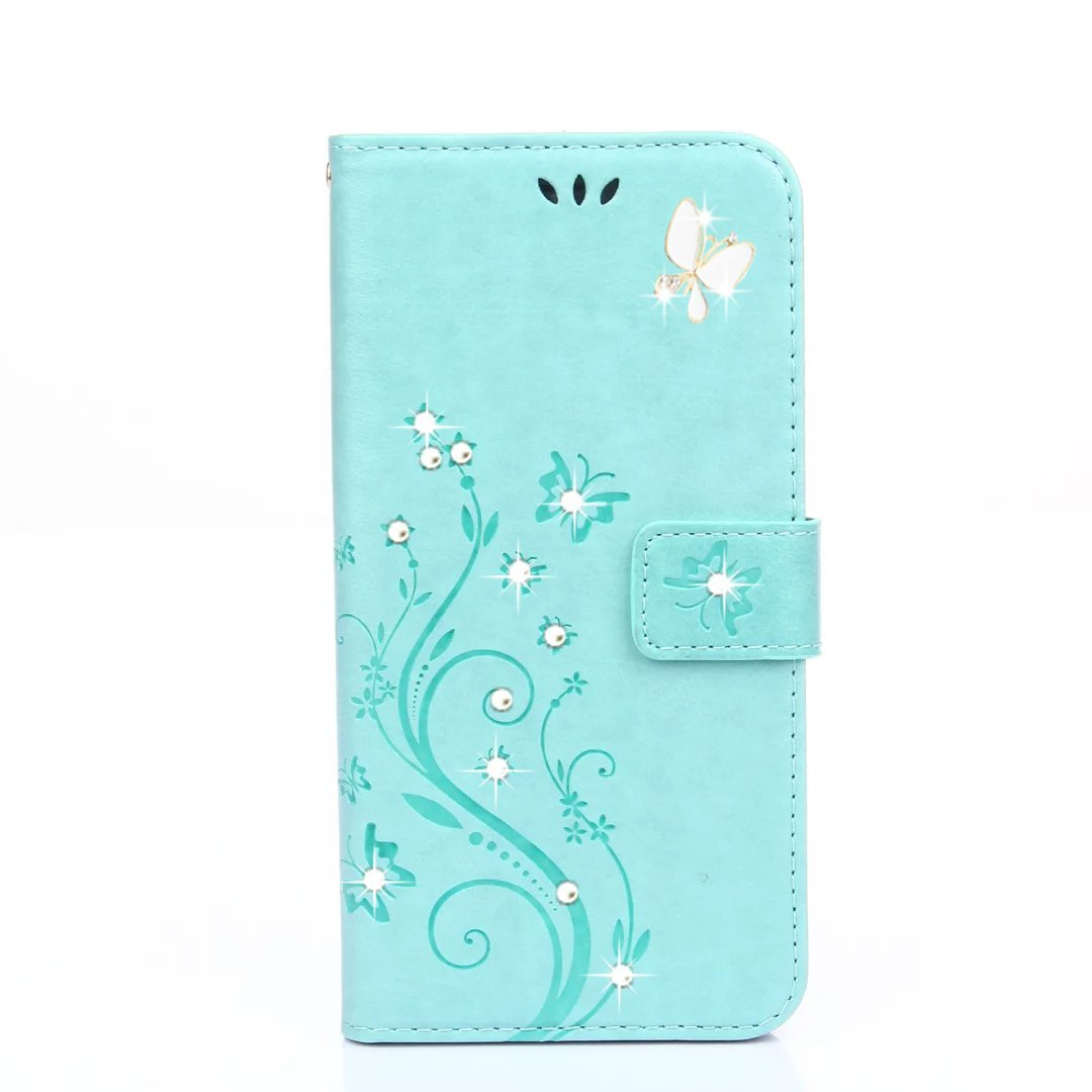 HAOTP(TM) Beauty Luxury 3D Fashion Handmade Bling Crystal Rhinestone Butterfly Fashion Floral PU Flip Stand Credit Card ID Holders Wallet Leather Case Cover for Samsung Galaxy S6 (Bling/Teal)