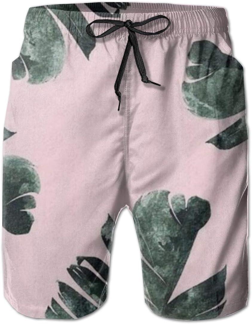 Wexzss Banana Leaf Funny Summer Quick-Drying Swim Trunks Beach Shorts Cargo Shorts