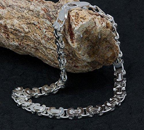 as Argent 925Messieurs roi Chaîne plat bris Antina 70cm et Bracelet 25cm