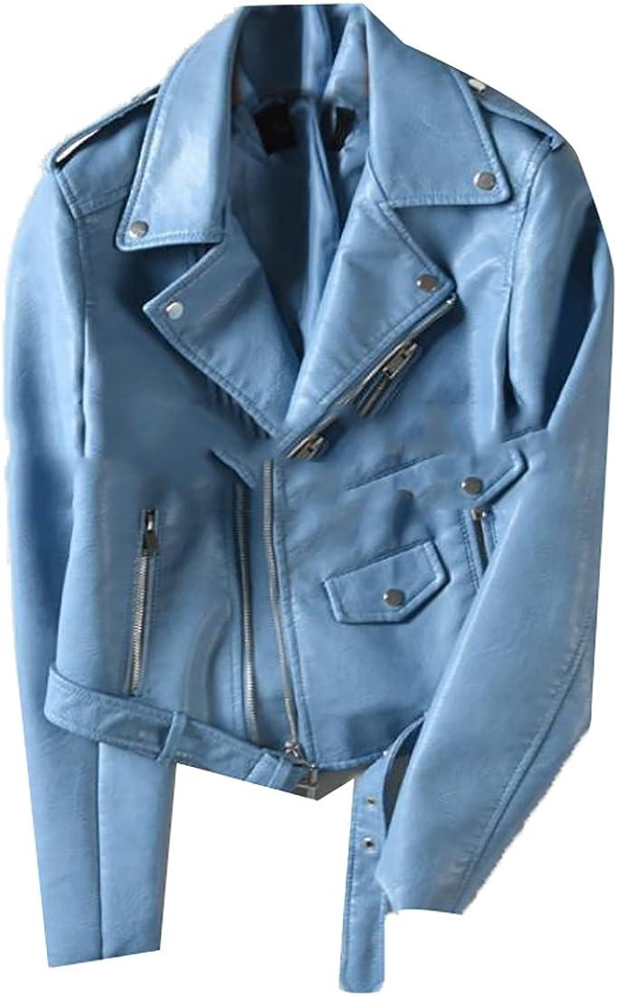 Womens Casual Faux Leather Moto Biker Short Jacket Coat
