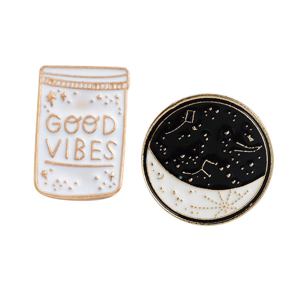 ink2055 2Pcs Brooch Pin Badge Good Vibes Polaris Ursa Major Denim Jacket Coat Suit Badges - Black + White