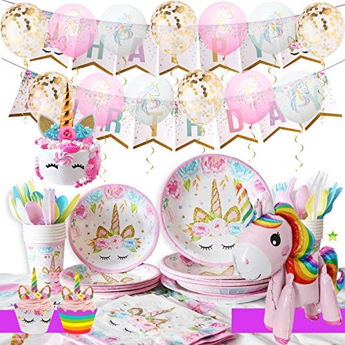 Unicorn Party Supplies Kit - Girls Magical Birthday Party Supplies, Unicorn Birthday Party Decorations Include Unicorn Cake/Cupcake Toppers, Ballons, Tableware Set, Serves 16]()