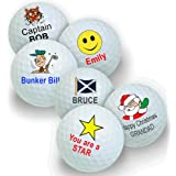 Pack of 3 Golf Balls - Personalised with your Name and a Design