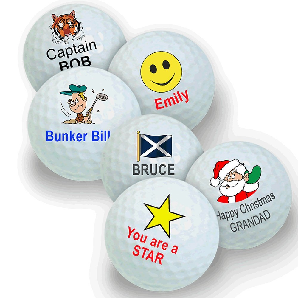 pack of 3 golf balls personalised with your name and a design
