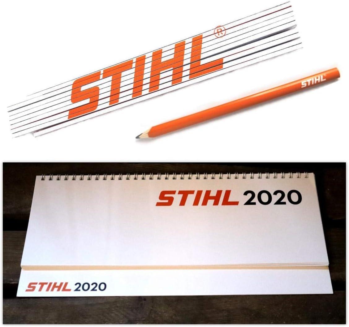Stihl Kalender 2020 Tischkalender Quer mit Zollstock und Zimmermannsbleistift