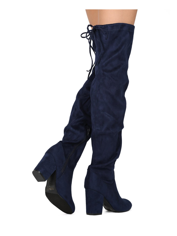 5692efe42b308 Mujeres muslo alto Sobre el bloque de rodilla Bota de tacón grueso -  Disfraz de Cosplay Cordón de fiesta elegante - HE87 por Refresh Copllection  Faux Suede ...