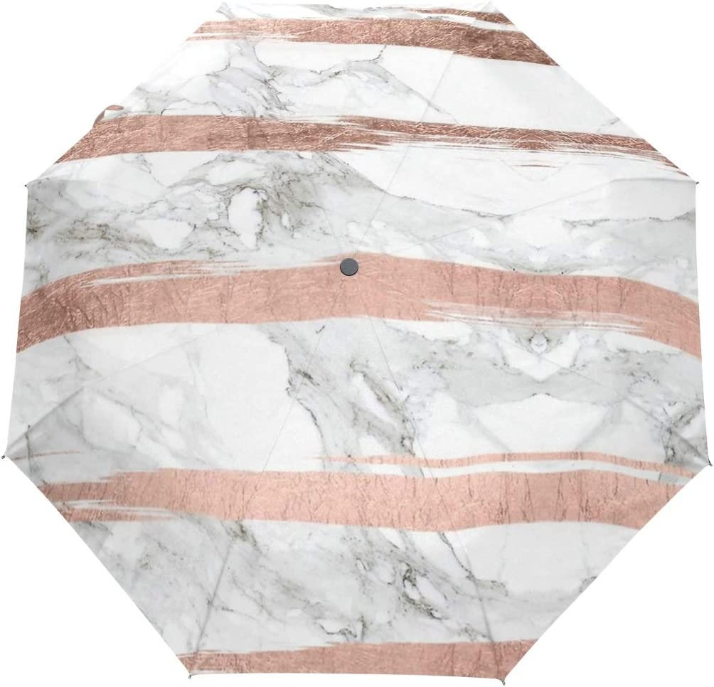 Rose Gold Stripe Marble fashion print cute Windproof automatic tri-fold umbrella sun UV protection Sun umbrella