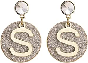 Pendientes Pendientes de letra de anillo geométrico super brillo exquisita moda popular temperamento clásico estilo largo personalidad ver
