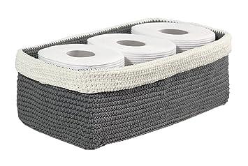 MDesign Gestrickter Badezimmer Organizer U2013 Aufbewahrung Für Toilettenpapier  Und Handtücher Auf Dem Spülkasten U2013 Grau/
