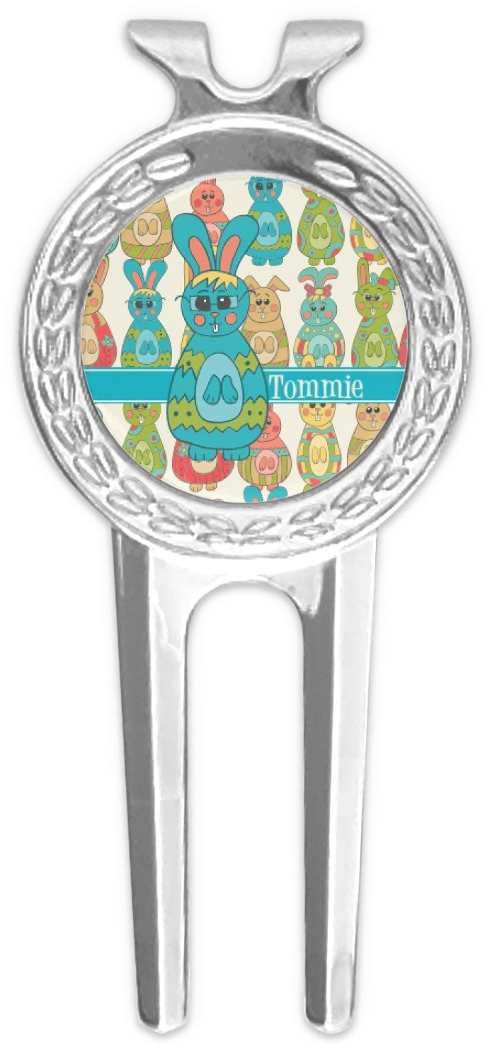 RNK Shops Fun Easter Bunnies Golf Divot Tool & Ball Marker (Personalized)