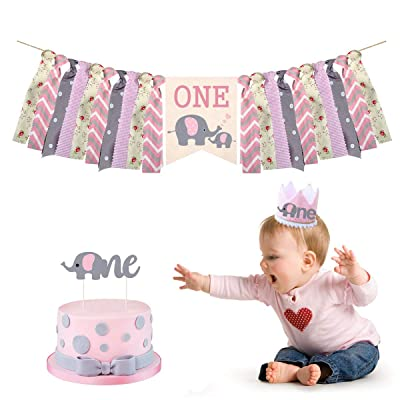 Cieovo Pink Baby Elephant High Chair Banner Kit Set of 3 - Elephant Highchair Banner, Crown Hat With One Cake Topper for Pink Elephant Theme Baby Shower 1st Birthday Party Supplies: Toys & Games