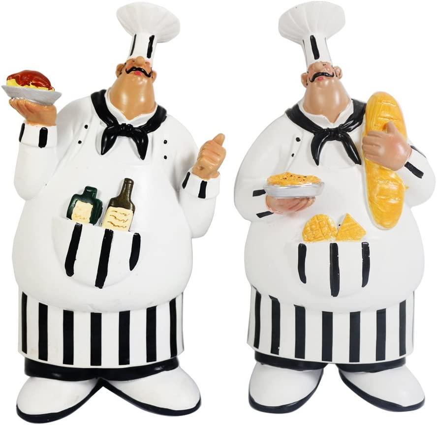 Amazon Com Kiaotime 150584qt Set Of 2 Italian Chef Figurines Kitchen Decor Adorable Cooking Fat Chef Wall Art Hanging Sign Kitchen Wall Sign Plaque Home Kitchen