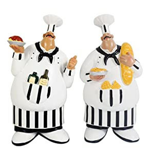 KiaoTime 150584QT Set of 2 Italian Chef Figurines Kitchen Decor Adorable Cooking Fat Chef Wall Art Hanging Sign Kitchen Wall Sign Plaque