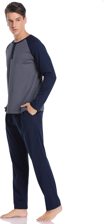 Pyjama Homme Manches Longues Coton V/êtements De Nuit Doux Coton V/êtements De Nuit Loungewear Hawiton Pyjama Homme Hiver