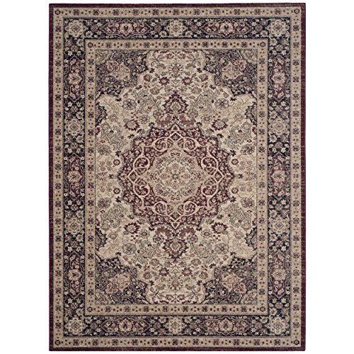 Lavar Cream (Safavieh Lavar Kerman Collection LVK637A Traditional Cream and Navy Cotton Area Rug (8' x 10') (8' x 10'))