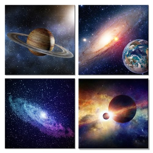 (Wieco Art Giclee Canvas Prints Wall Art Space Pictures for Bedroom Home Decorations Universal Magic Power Modern 4 Panels Contemporary Star Sky Pictures Astronomy Artwork)