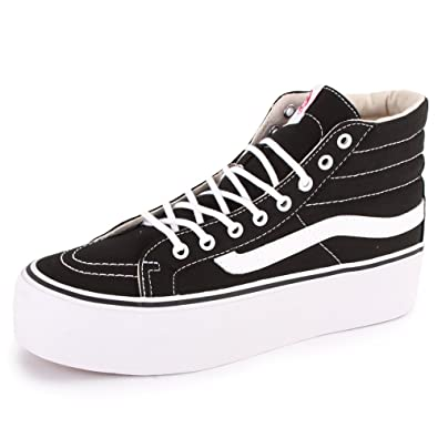 64bc311ee5cfd0 Vans Sk8-Hi Platform RRF1WX Womens Laced Canvas Trainers Black White - 4   Amazon.co.uk  Shoes   Bags