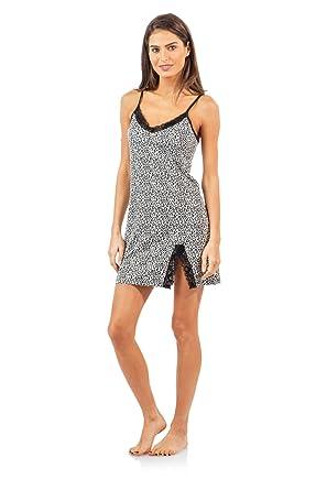 30c8224f2652 Casual Nights Women's Sleepwear Lace Trim Slip Camisole Nightie - Black  Animal Print - Medium