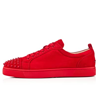 a33614b1de2 Christian Louboutin Louis Junior Spikes Flat Suede Red Oeillet 7 UK 41 EUR  (7