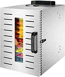 Thermoses Commercial Food Dehydrator Machine | 10 Stainless Steel Trays | Adjustable Timer and Temperature Control | Jerky, Herb, Meat, Beef, Fruits and Vegetables Dryer | Safety Over Heat Protection