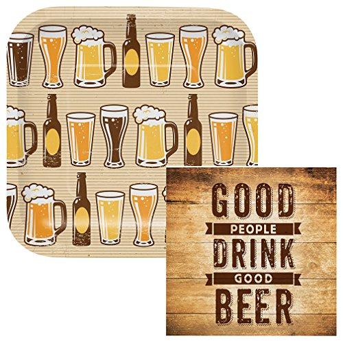 - Drink Good Beer Dessert Plates & Napkins Party Kit for 8