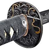Handmade Sword - Samurai Katana Sword, Battle Ready, Hand Forged, 1045 Carbon Steel, Heat Tempered, Full Tang, Sharp, Fudo Myoo Tsuba, Fudo Myoo Engraving on the Blade, Red/Black Wooden Scabbard