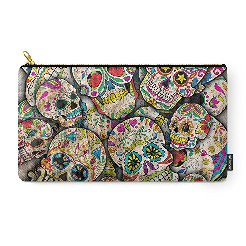 sugar skull collage carry pouch