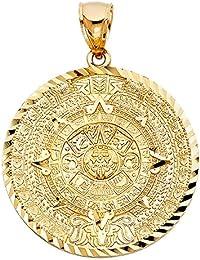 14k Yellow Gold Aztec Mayan Calendar Pendant - Diameter 21mm, 27mm, 36mm, 40mm