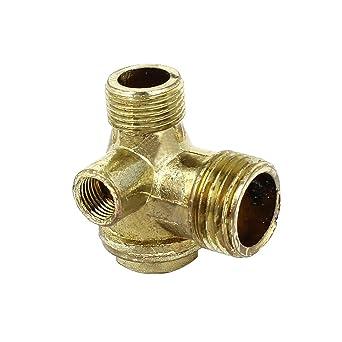 De metal Compresor de aire válvula de retención 1 / 8PT Rosca hembra de 3 vías