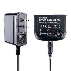 Lasica LBXR20 Lithium Battery Charger LCS1620 90590282 for BLACK and DECKER 16V 20V Max Lithium Battery LBXR20 LBXR20-OPE LB2X4020 LBX4020 LB20 LBX20 LBXR2020-OPE LCS1620 US Plug