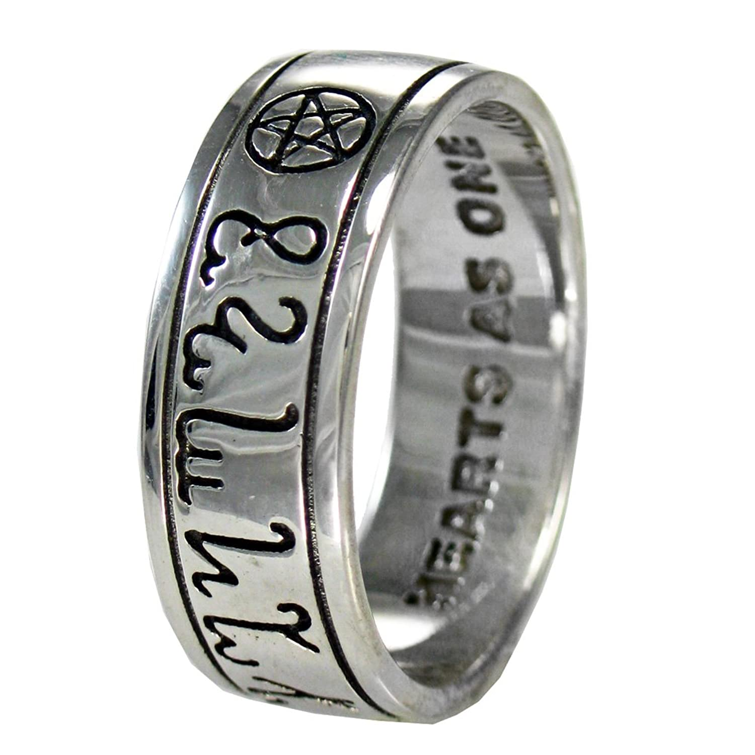 amazoncom sterling silver handfasting theban pentacle wedding ring size 4 15 jewelry
