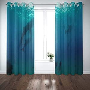 Shorping Window Curtains, Window Panels Sliding Blackout Curtains Whale Sharks Island of The Philippines Country Shower Curtain for Bedroom 52X63 Inches,2 Pc