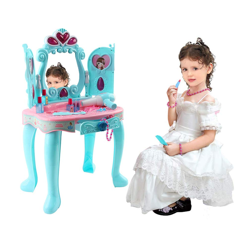 Kids Dresser Vanity Beauty Set | Toddler Fantasy Vanity Table Beauty Salon Kit with Makeup Accessories,Mirror &Working Hair Dryer | Dress-up Toy for Girl (Blue Induction Function Vanity Table) by Leadmall