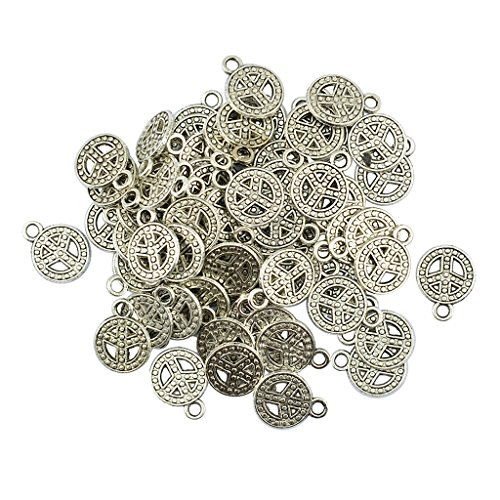 Homyl 50 Pieces Tibetan Silver Charms (PEACE SIGN) - Charming Beads - Pendant Charms - DIY Dangle Spacer Beads for Jewelry Making and Crafting, 17x13mm, Antique Silver ()