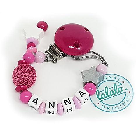 Cadena para chupete con nombre personalizable en rojo/rosa y ...